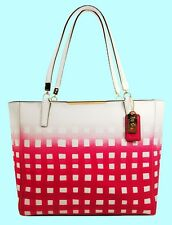 COACH 30118 MADISON Leather Gingham E/W Tote Bag Msrp $328 *Comes with Tag*