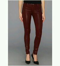 RARE $295 Hudson Red Coated Moto Mid-Rise Super Skinny Jeans Size 25