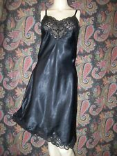 Vintage Wonder Maid Black Satin Silky Nylon Lacy Slip Lingerie 40