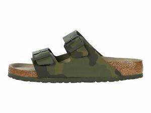 Birkenstock Arizona Camo Green Men's Soft Footbed Slide Sandals 1019597