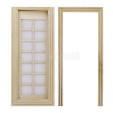 Dollhouse Miniature Wooden 14-Pane Single French Door w/ Trim Natural Finish