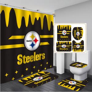 Pittsburgh Steelers Bathroom Shower Curtain Non-Slip Toilet Cover Bath Mat 4PCS