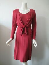 MENONOVE ITALY Dark Red Tie Front Stretchy Bodycon Maternity Dress S