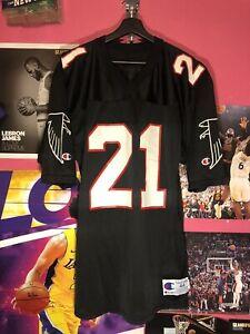 Deion Sanders #21 Atlanta Falcons VTG Champion Black Dirty Bird Jersey Mens 44