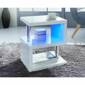 White 2 Tier High Gloss Side Coffee Table With LED Light Living Room Deco-H0232