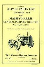 Massey Harris General Purpose GP 4WD Four Wheel Drive Parts List Manual 303,001+