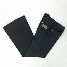 VINTAGE 70s BELL BOTTOM JEANS Black WRANGLERS Hip Huggers LOW RISE JRs XS S
