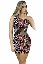 Abito aperto aderente nudo stampato scollo Midi print Leopard dress clubwear S