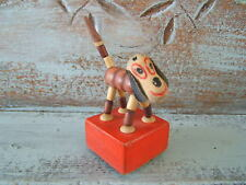 "Vintage Toy 5.5"" Wood Flappy Ear Dog Collapsible Push Up Puppet"