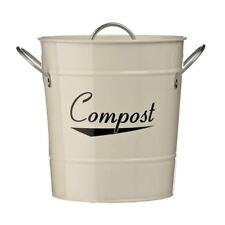 Coronet Compost Bin, crema in acciaio zincato verniciato a polvere (), maniglie di zinco