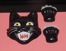 Halloween SCARY BLACK CAT HEAD & PAWS CAKE TOPPER DECORATION Pop Tops Craft Use