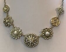 "Silver Tone 18"" Cubic Zirconia & Pearl Statement Necklace Bridal BNWOT (A289)"