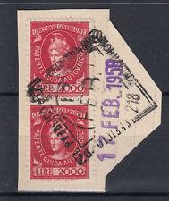 1948-54 MARCHE DA BOLLO PER PATENTI DI GUIDA COPPIA 2000 LIRE ANNULLATA SU FRAMM