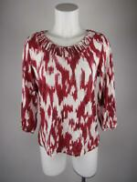 Chico's Women's sz 1 Maroon Printed Knotted Scoop Neck 3/4 Sleeve Blouse Top