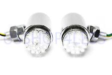 2x 24 White LED Running Light Turn Signal Fog Lamp Chrome Motorcycle for Harley