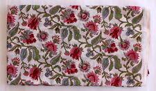 1 Yard Hand Bock Print 100% Cotton Craft Handmade Floral Sanganeri Print Fabric