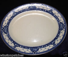 "WEDGWOOD ENGLAND SYLVIA 9 5/8"" OVAL PLATTER EARTHENWARE BLUE FRUIT DESIGN"