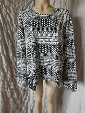 Sarah Santos black and white viscose woven textured top tunic size XXL