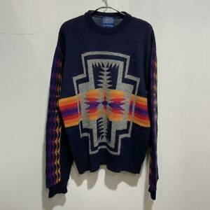 PENDLETON Auth 1970's Vintage Native pattern Sweater Navy XL Used from Japan