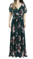 City Goddess Green Party Flute Sleeve Floral Maxi Wedding Long Dress UK 16 44