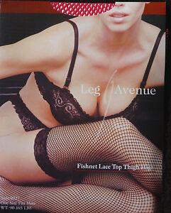Leg Avenue Fashion Fishnet Lace Top Fuchsia Thigh-Hi Stockings One Size