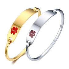 Gold Silver Medical Alert ID Women Bracelet Bangle Wristband Cuff Free Engraving