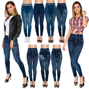 Womens Skinny High Waist Leggings Denim Imitation Pants Solid Soft Jeggings FSDS