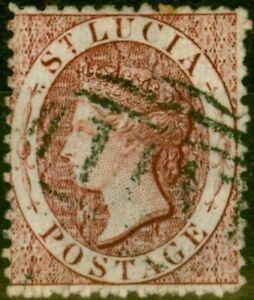 St Lucia 1863 (1d) Lake SG5ax Wmk Reversed Fine Used