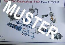 Explosionsdarstellung Simson Motor S50 M53/2KF  70x48cm