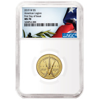 2019-W UNC $5 Gold American Legion 100th Ann. NGC MS70 FDI Flag Label