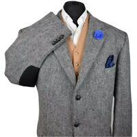 Harris Tweed BARUTTI Country Grey Tailored Hacking Jacket 52L #719  SUPERB ITEM