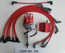 SMALL BLOCK FORD 289-302 RED Small HEI Distributor, RED COIL & SPARK PLUG WIRES