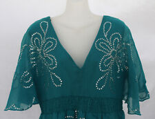 TEAL GREEN & SILVER SEQUIN Top - Size 14 - NEW