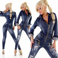 New Women Clubbing Destroyed Jumpsuit Ladies Overall Skinny Jeans Size 6 8 10 12