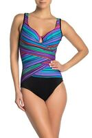 NEW MIRACLESUIT ESCAPE TRUE COLORS LAYERED ONE-PIECE SLIMMING SWIMSUIT WOMENS 12