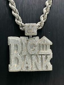 CZ BIG BANK 925 Sterling Silver ICE Men Icy Shine Shiny PENDANT Bling BRAND NEW