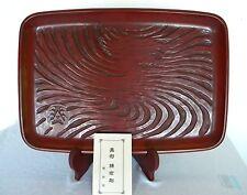 KAMAKURA-BORI JAPANESE WOOD CARVING TRAY, STAND & CASE by HAKKODO, Custom made
