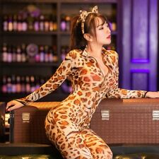 Women Sexy Leopard Catsuit Jumpsuit Bodycon Bodysuit Slim Fit Costume Zipper New