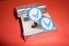 #2 (1 pair) U.S.Air Force Blue design Silver Tone Hair Clips - Barrettes / New