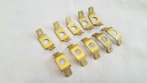 NOS Lucas 6.3mm (0.25 inch) Terminal Solid Brass double flat earth tags x 10