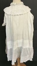Vintage White Cotton Girls Victorian Dress Gown With High Collar & Tucks