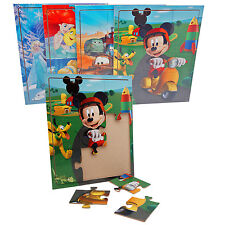 4x Disney Holz Puzzle Mickey Mouse Prinzessin Frozen Pixar Cars Maus Spielzeug