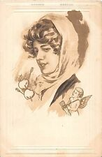 B90/ Valentine's Day Love Holiday Postcard 1911 Fayette Ohio Woman Cupid 4