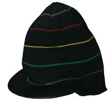 So*Cal Men's Puff Touch Brim Black/Multi-Colored Striped Beanie Visor Sz OS **
