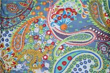 10 Yard Paisely Cotton Dress Material Handmade Sangeneri Jaipuri Vintage FabricA