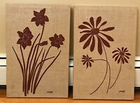 "2 Silkscreen Textile Wall Art 1980 Signed Pengö, Marushka-Style Flowers 18""x12"""