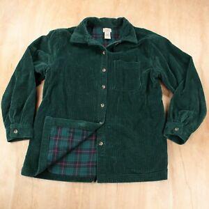 LL BEAN women's lined wide wale corduroy big hirt MEDIUM green 273275
