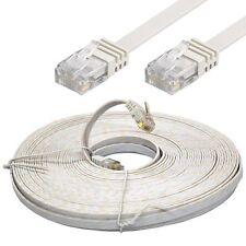 20m Meter Flachkabel Cat 5e weiß Netzwerkkabel LAN Patch Vergoldete Kontakte HQ