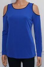 New Calvin Klein Top Blouse Shirt Long Sleeve Royal Blue, Size L, MSRP $59