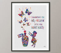 Alice in Wonderland Drink Me Quote Watercolor Art Print Nursery Decor Wall Art